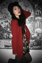 brick red H&M blazer - army green Topshop bra - black Topshop skirt - black asos