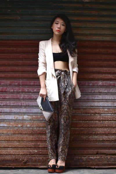 brown Zara pants - cream H&M blazer