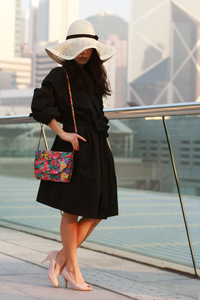 black Topshop coat - cream H&M hat - hot pink midwest vintage bag - light pink u