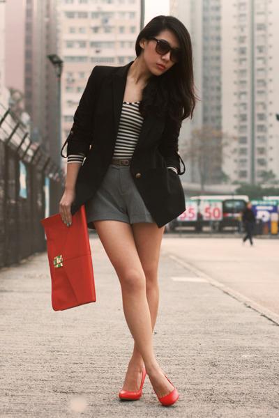 navy Zara blazer - red asos bag - heather gray H&M shorts - dark brown asos sung
