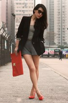 navy Zara blazer - red asos bag - heather gray H&M shorts - dark brown asos sung