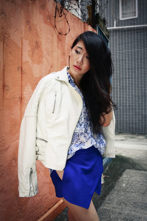 white Topshop jacket - blue Zara shorts