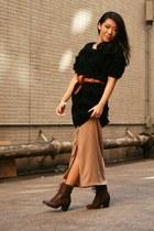 black Monki cardigan - camel asos cardigan - tawny asos belt - dark brown asos b