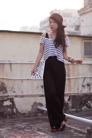 dark brown H&M scarf - black Topshop romper