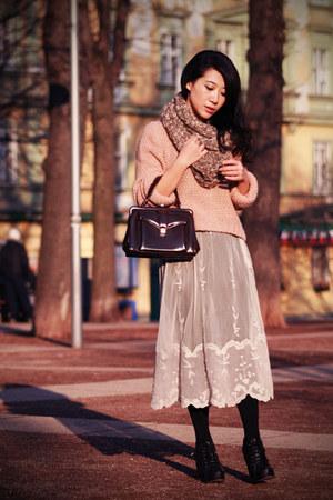 black H&M tights - light brown Topshop scarf - dark brown vintage bag - cream sh