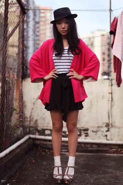 hot pink Zara blazer - black free people shorts - white H&M t-shirt - olive gree