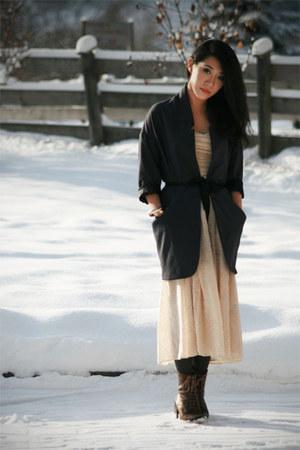 gray Topshop jacket - cream H&M dress - dark gray H&M tights - dark brown asos b