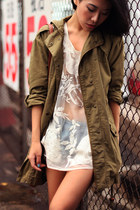 army green Zara coat - sky blue unknown shorts - white Topshop top