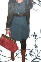flea market purse - H&M dress - flea market belt - flea market shoes