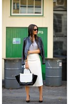 Zara skirt - Christian Louboutin shoes - Mango jacket - Celine bag
