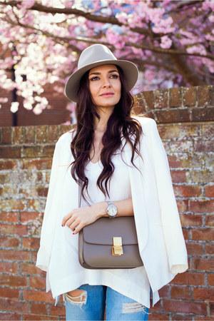 Topshop blazer - rag & bone jeans - rag & bone hat - Celine bag - Topshop top