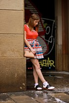 Topshop skirt - Bass shoes - Orla Kiely dress - asos bag