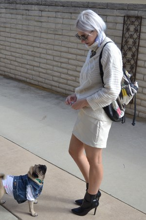 H&M sweater - black mid ankle Zara boots - pleather mini Express skirt