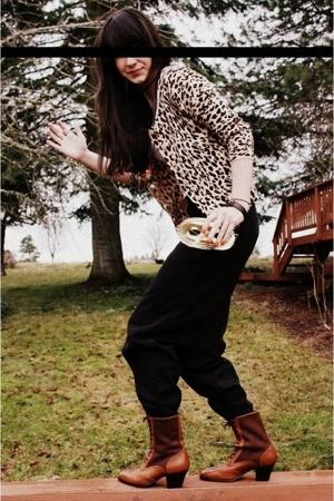 black Target pants - brown vintage boots