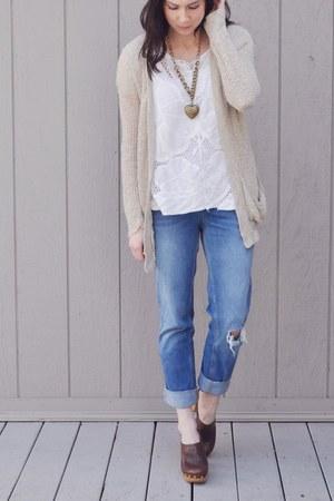 sky blue asos jeans - white Forever21 shirt - tan Target cardigan