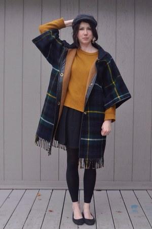 navy Bonnie Cashin coat - burnt orange madewell sweater - black Target skirt