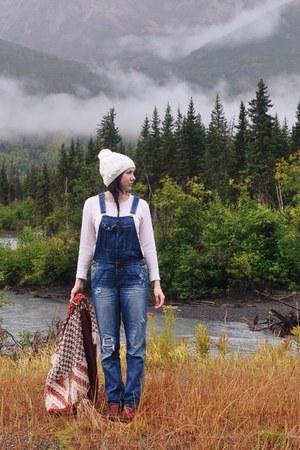 brown Bog boots - burnt orange Anthropologie sweater - blue American Eagle pants