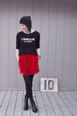 red Isabel Marant skirt - black H&M t-shirt