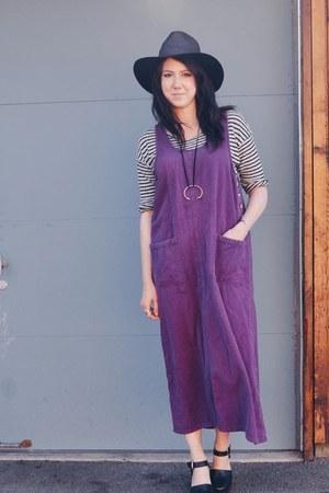 purple thrifted vintage dress - black madewell hat - heather gray Zara t-shirt