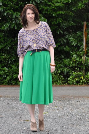 thrifted vintage skirt - sam edelman boots - Target shirt