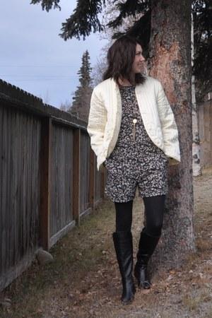 black H&M romper - black La Canadienne boots - eggshell vintage jacket