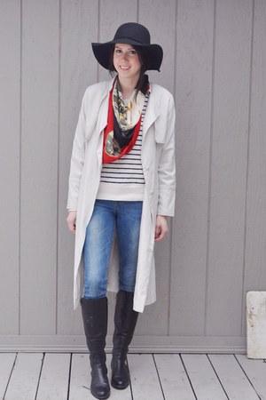 black La Canadienne boots - eggshell H&M coat - blue H&M jeans