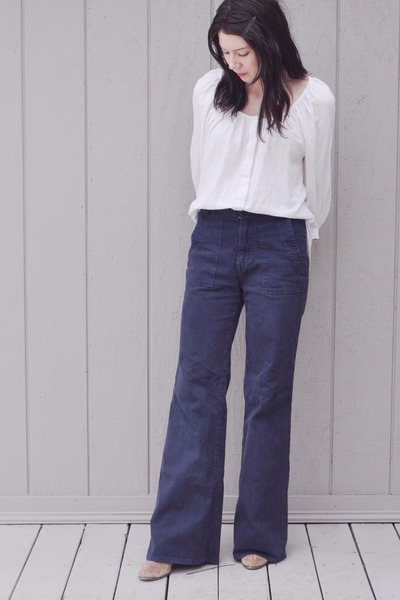 tan sam edelman boots - white H&M shirt - navy Joie pants