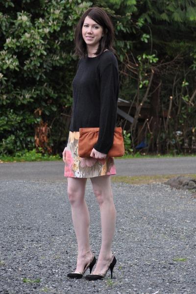 thrifted skirt - thrifted sweater - thrifted bag - Miu Miu heels