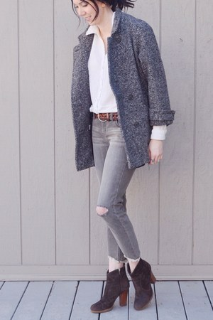 gray vintage coat - dark brown Enzo Angiolini boots