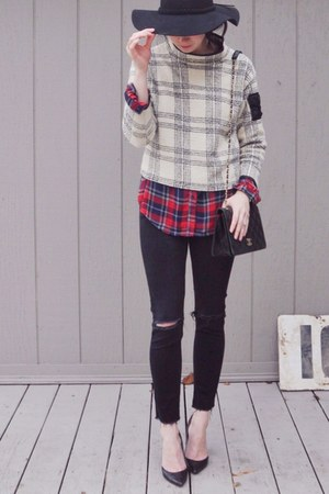 black H&M jeans - off white vintage sweater - red Target shirt
