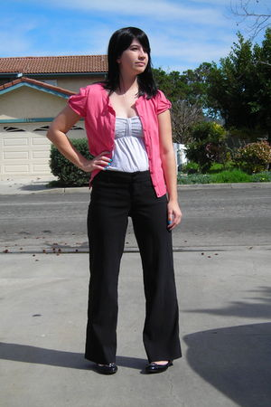 pink Forever 21 cardigan - gray hollister shirt - black Macys pants - black Ross