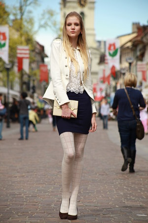 white second-hand jacket - white avant-premire tights - clutch second-hand bag