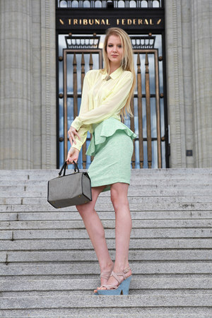 black and white vintage bag - peplum mint Zara skirt