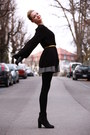 Black-booties-h-m-boots-grey-primark-dress-black-knitted-h-m-sweater