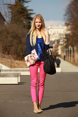 oh-so-pink H&M jeans - deep blue H&M blazer - black iam bag