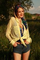blue sequins Mango top - H&M scarf - diy DIY shorts