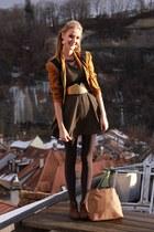 vintage vintage blazer - flat booties Primark boots - kaki Primark dress