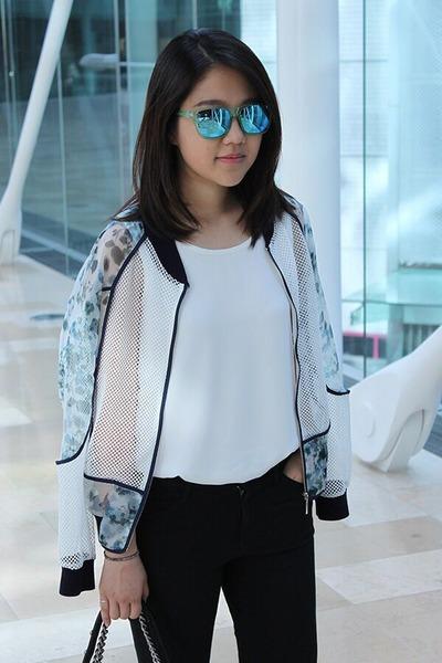 sky blue jacket - black Uniqlo jeans - sky blue glasses