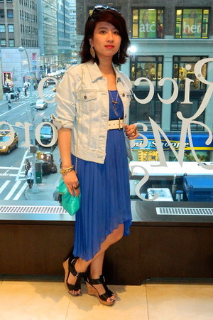 blue high-low H&M dress - light blue denim Gap jacket - aquamarine H&M bag