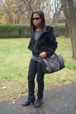black furry H&M jacket - black sequined Express bag - gray striped H&M top