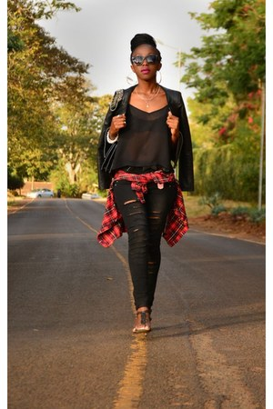 denim jeans MRP jeans - black heels Aldo heels