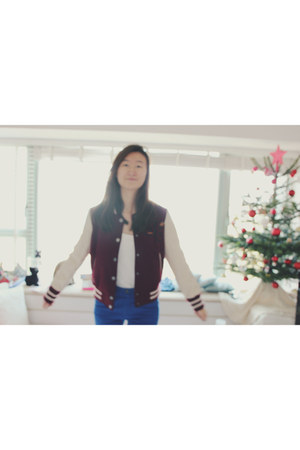 maroon varsity Stradivarius jacket - black black Topshop shoes