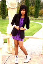 Nordstrom blazer - Urban Outfitters dress - Hot Topic tights - doc martens shoes