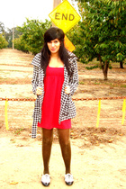 red Victorias Secret dress - black Nordstrom coat - brown  tights - white Steve
