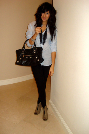 black balenciaga purse - beige lace up heel f21 shoes - blue UO shirt