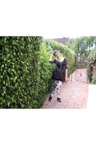black hm dress - white hm tights - black Steve Madden shoes - black Ray Ban sung