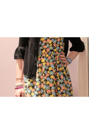 floral Topshop dress - black cardigan