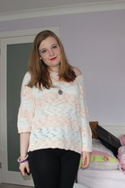 light pink F&F jumper - black black Tu leggings - galaxy HannyMade necklace