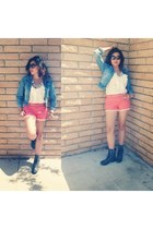 coral Forever 21 shorts - blue thrifted jacket