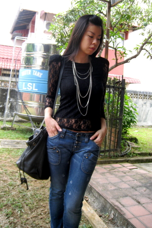 black lace shoulder random brand top - brown caged random from Bangkok shoes